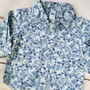 Old Navy Cotton Floral Print Button Down Shirt 3-6